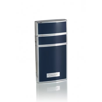 Зажигалка caseti газовая турбо, покрытие хром + синий лак, 7,1