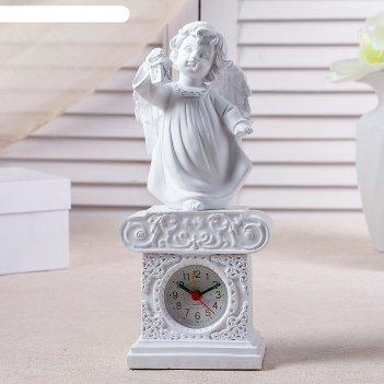 Часы настольные ангел с фонариком, цвет белый, h=25 см