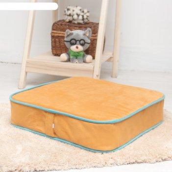 Подушка на стул квадратная 43х43 см, высота 10см, желтый/голубой, велюр, п
