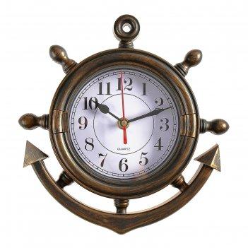 Часы настенные, серия: море, якорь, коричневые, 23х24 см микс