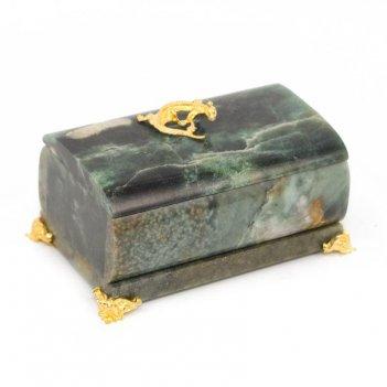 Шкатулка овальная камень офиокальцит