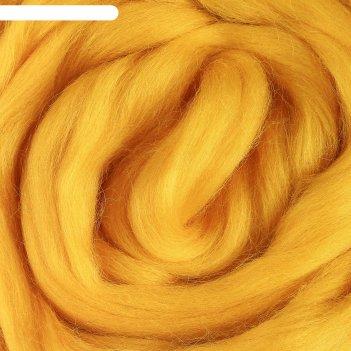 Шерсть для валяния 100% полутонкая шерсть 50 г (104, желтый)
