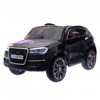 Электромобиль «кроссовер», 2 мотора, eva колёса, кожаное сидение, цвет чёр