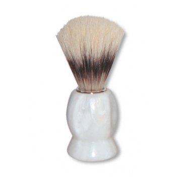 Помазок для бритья mondial, пластик, свиной ворс, рукоять - белый цвет
