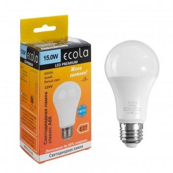 Лампа светодиодная ecola classic premium, а60, 15 вт, е27, 6500 к, 220 в,