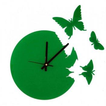 Часы настенные порхающие бабочки зеленые cl104зел 28х28см