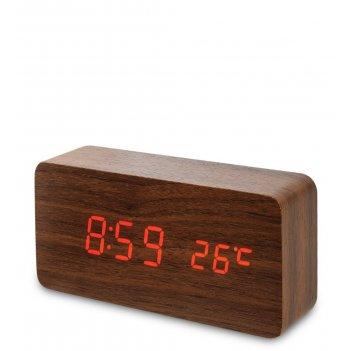 Ял-07-09/13 часы электронные (коричневое дерево с красной подсветкой)