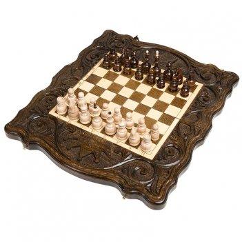 Шахматы + нарды резные корона 40, haleyan (40х40см)