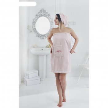 Набор для сауны pera, парео 70х150 см, чалма 25х60 см, розовый, махра 380