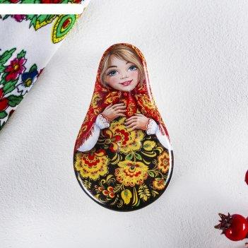 Шкатулка керамическая «русская краса» (узоры), 5,1 х 8,8 см