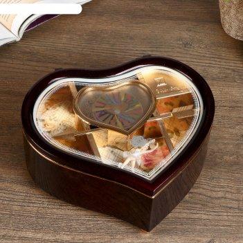 Шкатулка музыкальная пластик изогнутое сердце микс 19х17х7 см