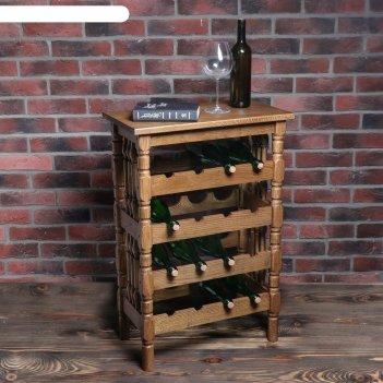 Стеллаж винный классический, на 16 бутылок, массив дуба, темный орех