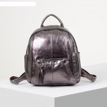 Рюкзак молодёжный, отдел на молнии, 6 наружных карманов, цвет бронза