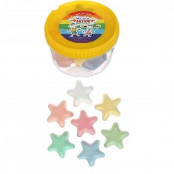 Мелки цветные для асфальта (фигурные) 12 штук 7цв фантазия звездочки пласт