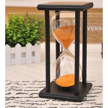 Песочные часы черные с оранжевым песком на 60 минут