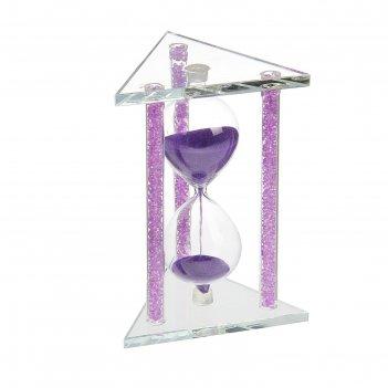 Часы песочные. серия стекло. треугольник с колонами, внутри кристаллы, мик