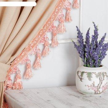 Тесьма с бусинками, 10 см, 12 ± 1 м, цвет персиковый