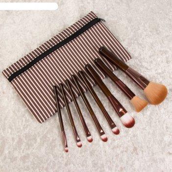 Набор кистей для макияжа полоски, 8 предметов, 22*13,2см, цвет коричневый