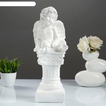 Фигура ангел на пьедестале белый 15х15х42см