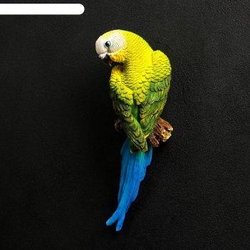 Садовая фигура попугай волнистый на ветке
