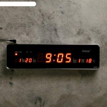 Часы настенные электронные длинные «классика», цифры красные, от сети, 33,
