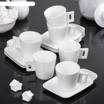Сервиз кофейный клео, 12 предметов: 6 чашек 80 мл, 6 блюдец 13,5 см