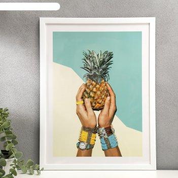 Постер пластик ананас 30х40 см