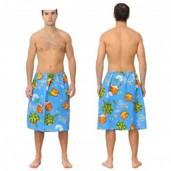 Килт для сауны муж (65х150), баня синий ваф.полотно 160г/м, хл100%
