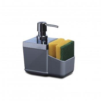 Дозатор с губкой для кухни toskana, цвет серый