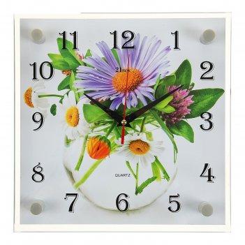 Часы настенные, серия: цветы, ромашки, 25х25 см