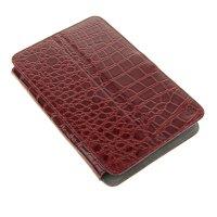 Чехол-книжка универсальный 7 с уголками, бордовый рептилия