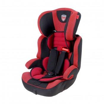 Автокресло-бустер, группа 1-2-3, цвет красный/чёрный
