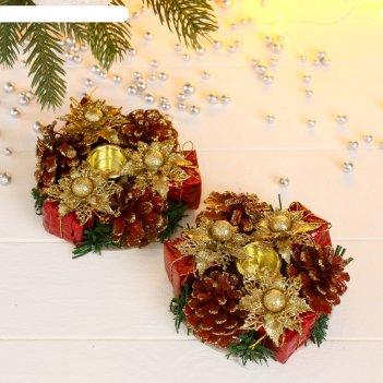 Подсвечник на две свечи цветы, шишки