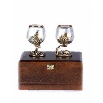 Набор из двух бокалов для коньяка охота на кабана и осетр (стандарт) в дер
