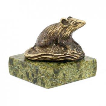Статуэтка крыса на поляне бронза змеевик