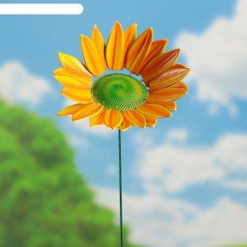 Декор садовый подсолнух, штекер 60 см, микс цвета
