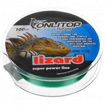 Леска капрон lizard зеленая d=0,4 мм, 100 м, 14,2 кг