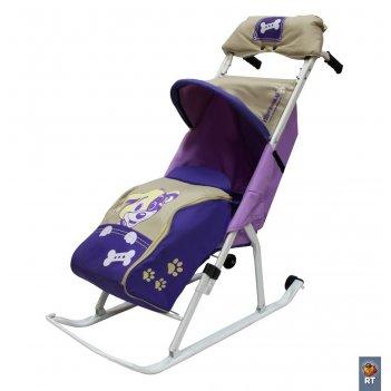 Санки-коляска комфорт люкс 11 любопытный щенок с колесиками и муфтой сирен