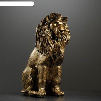 Фигура лев сидящий золото 40х25х56см