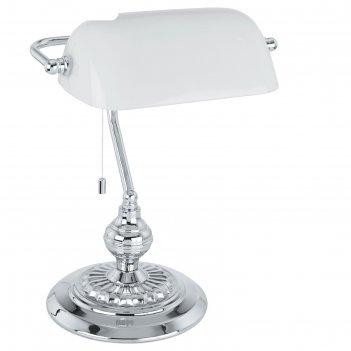 Настольная лампа banker 1x60вт e27 хром 27,5x39см