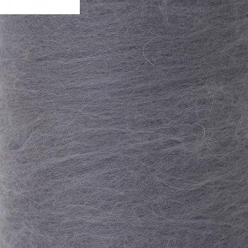 Шерсть для валяния кардочес 100% полутонкая шерсть 200гр (168 св. серый)