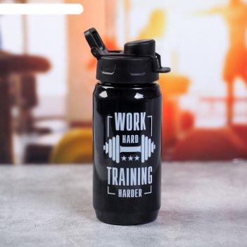 Бутылка для воды «work hard», 500 мл