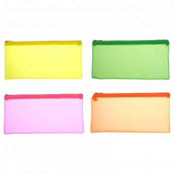 Пенал-косметичка пластиковый erichkrause matt neon пвх, микс 4в 50519