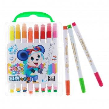 Фломастеры, 24 цвета, в пластиковом пенале с ручкой, вентилируемый колпачо