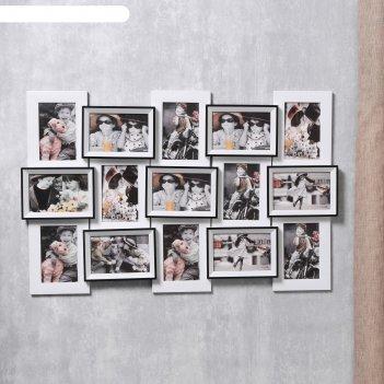 Фоторамка пластик на 15 фото 10х15 см семейное древо 50х77,5х4 см
