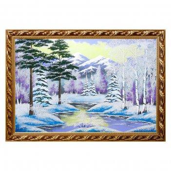Картина зимний пейзаж багет №7 (50х70 см) гориз. в ассортименте