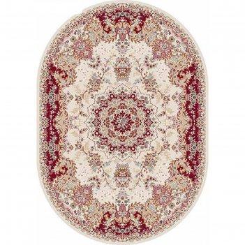 Ковёр хит-сет пп shahreza d211, 2*5 м, овал, cream-red