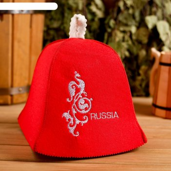 Шапка банная russia красная