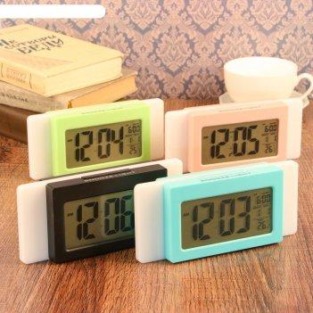 Часы-будильник электронные, с подсветкой, температура, дата, батарея 3ааа,