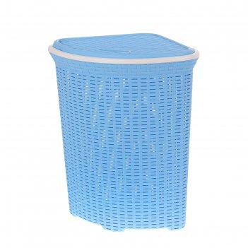 Корзина для белья угловая с крышкой 60 л ротанг, цвет голубой